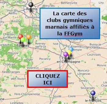 La carte des clubs gymniques marnais